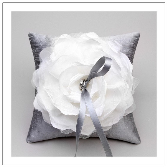 Laurel ring pillow - white taffeta and tulle flower on silver silk dupioni wedding ring pillow 8x8