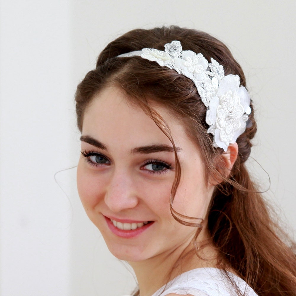Floral Lace Headpiece For Wedding: Lace Wedding Headband Bridal Headpiece Hair By Louloudimeli