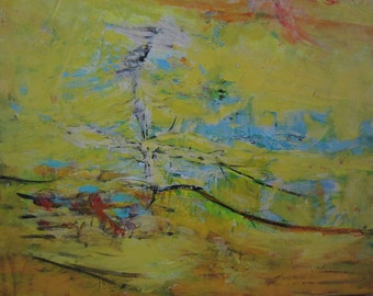 SECRET 5 - Original Abstract Painting Yellow Art, 24x24 inches