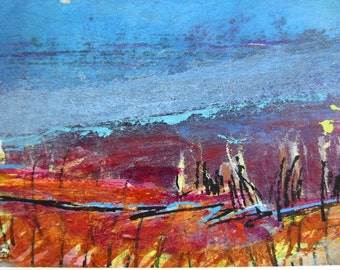 Let It Be No 43 - Original Abstract Painting, 5x7 inches, Matted