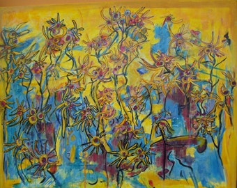 Yellows Singing The Blues  -  Art Original Abstract Painting