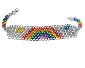 Chainmaille Inlay Bracelet - Silver and Rainbow