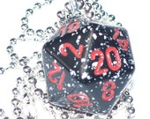 d20 Dice Pendant - Speckled Black with Red Numbering