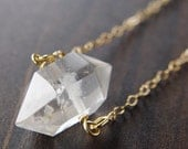 SALE Herkimer Diamond Gold Necklace