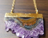 Amethyst Stalactite Druzy Necklace 14k Gold