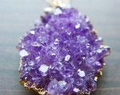Lavender amethyst druzy necklace - 14 karat gold pendant