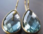 Aquamarine Teardop Gold Earrings