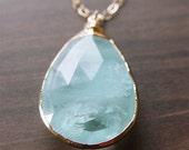 Blue Aquamarine Gold Necklace