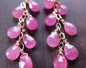 SALE Pink Sapphire Dangle Earrings - 14k Gold Filled