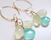 Lemon Cluster Earrings Gold Aqua Chalcedony