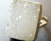 Vanilla Druzy Gold Ring - Mothers Day Sale