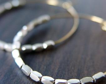SALE Silver Nugget Hoops Earrings 14k Gold Filled