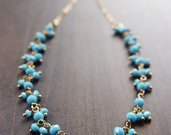 SALE RESERVED for Cathy: Turquoise Cluster Silver Necklace