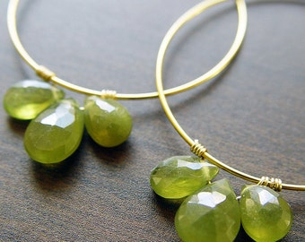 SALE Green Garnet Hoop Earrings 14k Gold