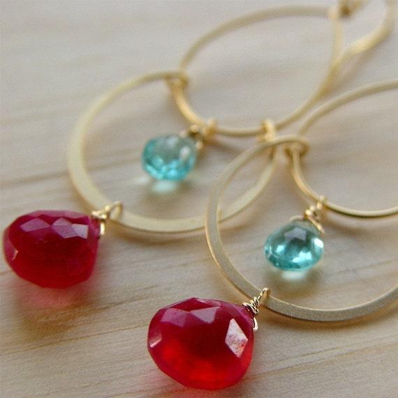 Turkish Delights Topaz Ruby Gold Chandelier Earrings