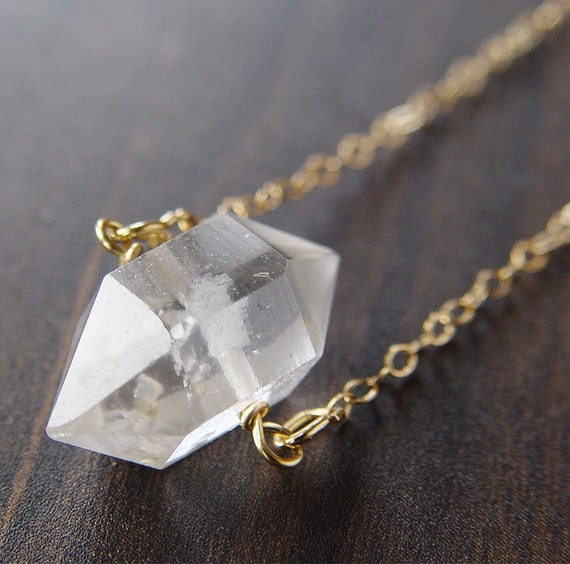 Herkimer Diamond Gold Necklace