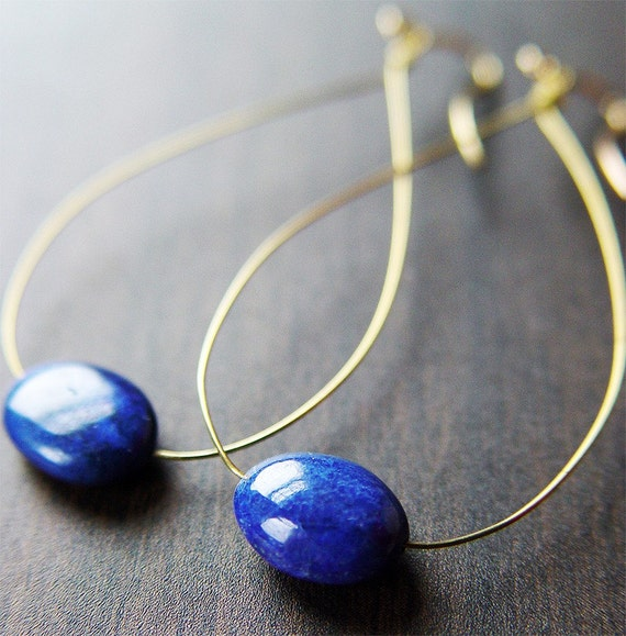 Lapis Blue Teardrop Earrings 14k Gold