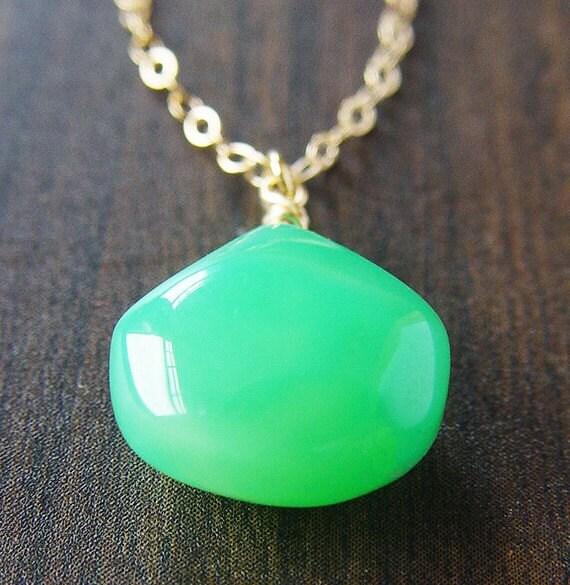 Apple Chalcedony Necklace 14k Gold