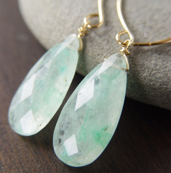 Rutilated Green Quartz Earrings 14k Gold