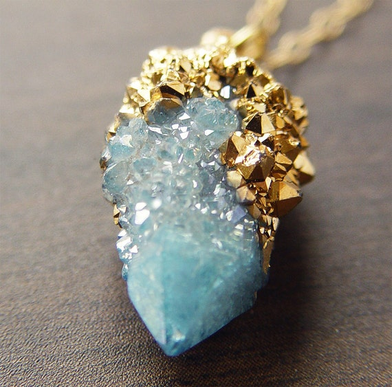 Spirit Aqua Aura Quartz Drusy Gold Dipped Necklace