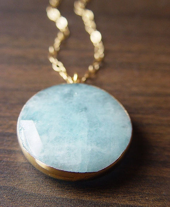 Blue Aquamarine Gold Necklace - limited edition