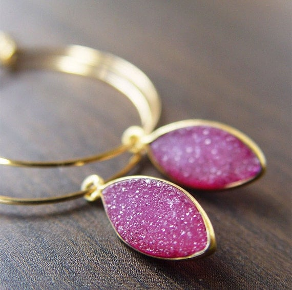 Fuchsia Drusy Gold Earrings - limited edition