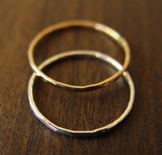 Gold Silver Band Rings - Mixed Metal Delicate Stacking Set