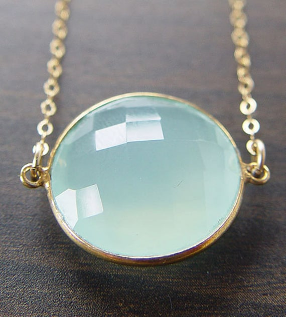 Aqua Chalcedony Necklace Round 14k Gold