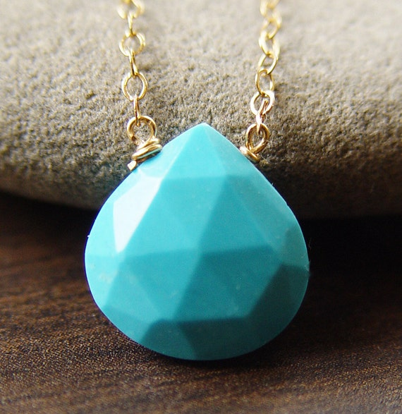 Turquoise Blue Gold Necklace