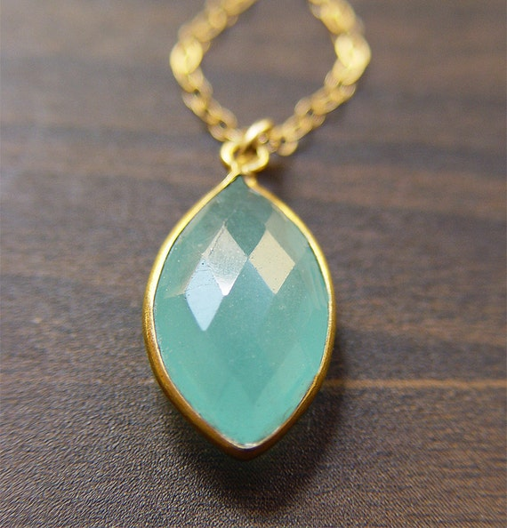 Aqua Chalcedony Marquise Necklace in Gold