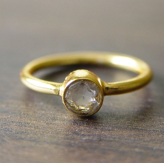 Round White Topaz Ring 14k Gold