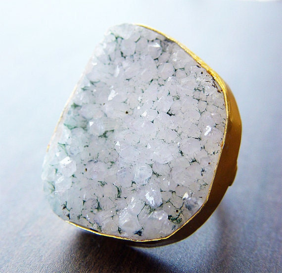 Large Vanilla Druzy Ring - Gold Statement Ring