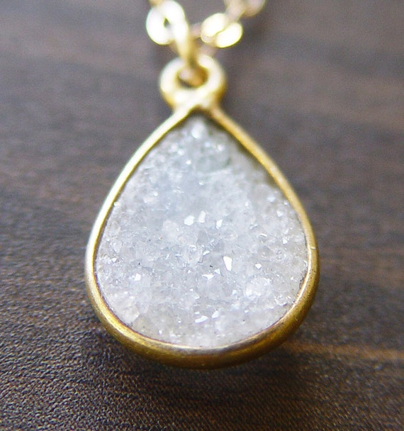 Vanilla Teardrop Druzy Gold Necklace