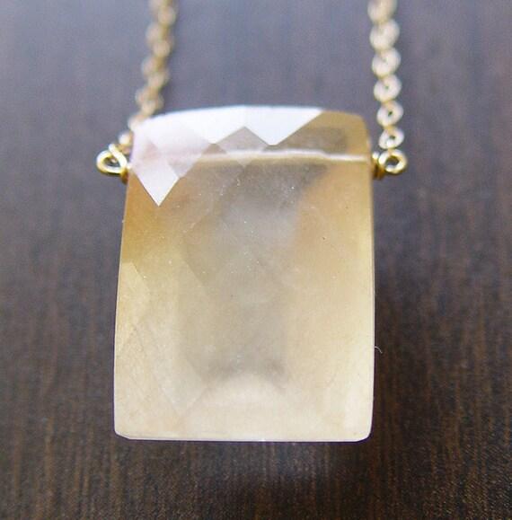 Geometrical Rectangular Quartz Necklace - 14k Gold - OOAK