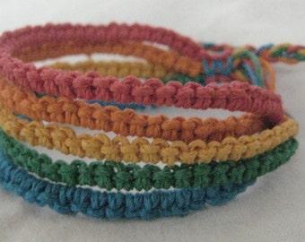 Hemp bracelet or anklet - macrame jewelry - Rainbow - 5 strand - Adjustable Length