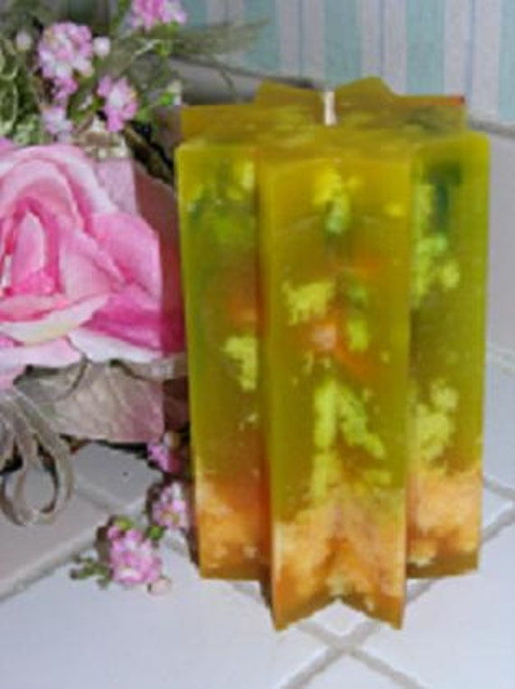 TROPICAL PINEAPPLE Scented Pillar Candle - Beautiful Unique Colors - Mottled Paraffin - Hand Poured - Hand Made - Highly Scented - Unique