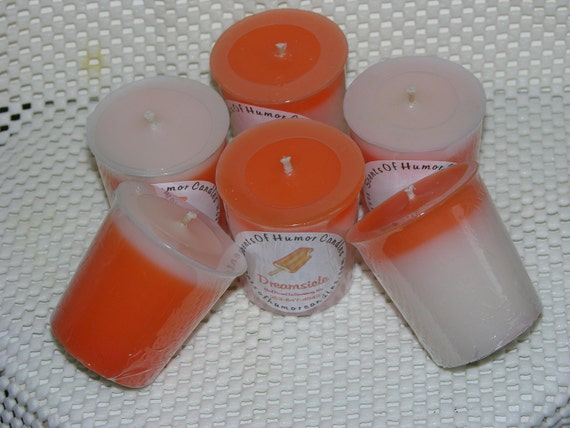 Votive Candles DREAMSICLE CREAMSICLE ORANGE and VANILLa Scented Beautiful Hand Poured