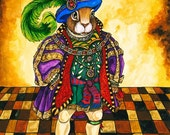 Tudor Rabbit Fine Art Giclee Mini Print Sir Rupert Rabbit