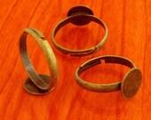 10pcs 10mm Pad brass base free nickel Adjustable antique bronze RING Base Blank narrow Findings