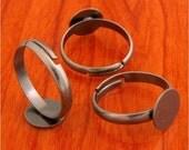 big size 20pcs 10mm Pad brass base free nickel narrow Adjustable antique silver RING Base Blank Findings