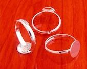 20pcs 10mm Pad brass base free nickel narrow Adjustable silvery white RING Base Blank  Findings