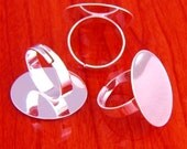 big size 20pcs 25mm Pad brass base free nickel Adjustable silvery white RING Base Blank widen Findings