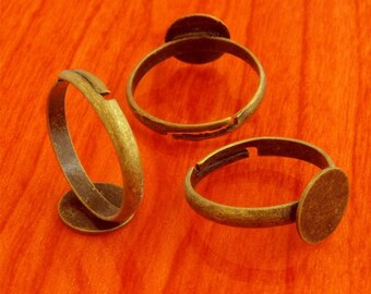 200pcs 10mm Pad brass base free nickel Adjustable antique bronze RING Base Blank narrow Findings