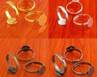 40pcs MIXED 10mm pad blank Adjustable ring base