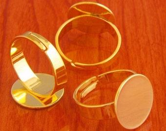 big size 20pcs 15mm Pad brass base free nickel Adjustable golden RING Base Blank widen Findings