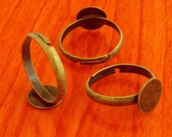 20pcs 10mm Pad brass base free nickel Adjustable antique bronze RING Base Blank narrow Findings