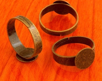 Big size 20pcs 10mm Pad brass base free nickel Adjustable antique bronze RING Base Blank widen FindingsFrom flyingpike