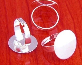 big size 20pcs 20mm Pad brass base free nickel Adjustable silvery white RING Base Blank widen Findings