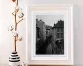 Vintage style black and white photograph made with in Prague with a polaroid land 195 - prague houses - 8x10 giclee print