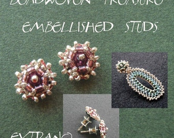 Studs tutorial, embroidered earrings tutorial, seed beads earrings tutorial, earrings pattern, studs, beading pattern - EMBELLISHED STUDS